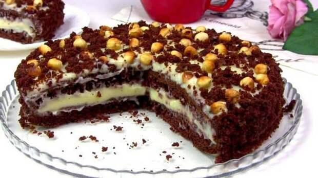 Торт на кефире Фантазия. Нежное лакомство на заварном креме