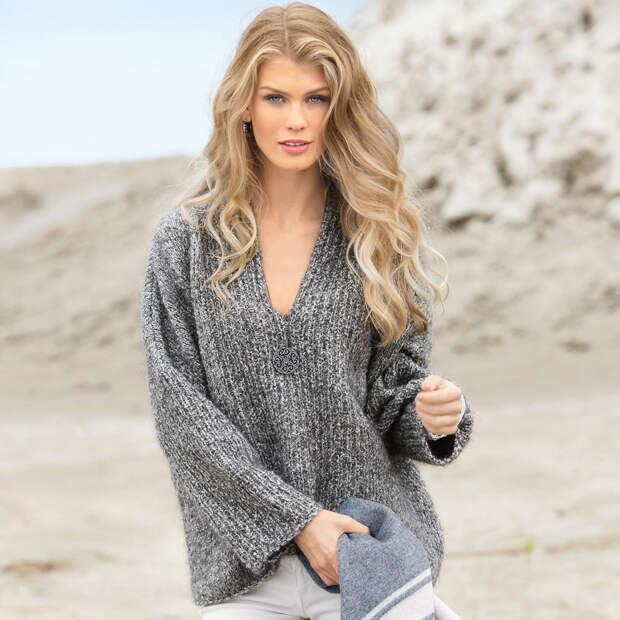 Пуловер оверсайз из меланжевой пряжи