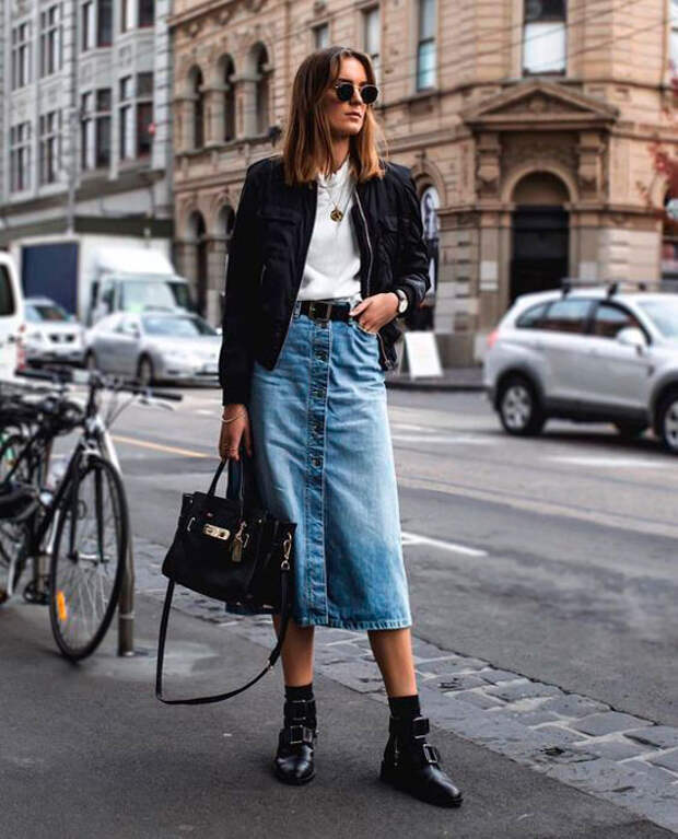 10 стильных способов носить различные юбки-миди прямо сейчас!