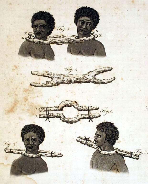 Разновидности деревянных хомутов, которые использовались в процессе время конвоирования рабов (Сенегал, 1789 год) - 1