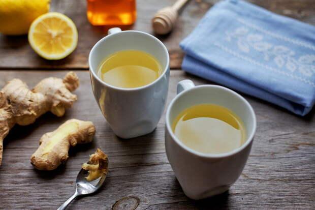 Зелёный час с мёдом, лимоном и имбирём