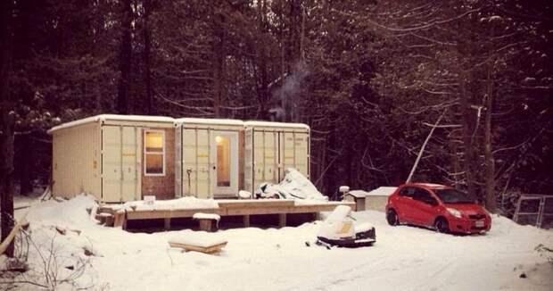 Канадец построил дом из контейнеров и живет там даже в минус 30 в и живет, в минус, дом, канадец, контейнеров, построил, там даже