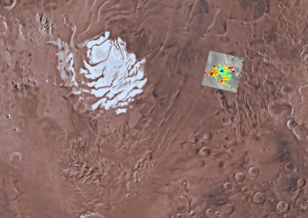 Mars Express обнаружил в районе южного полюса Марса еще несколько подледных озер