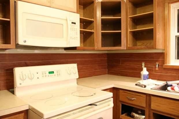 Освежить кухонный фартук поможет бюджетная виниловая плитка бюджетно, дом, идеи, креатив, ремонт, своими руками, советы, фото