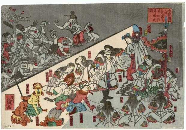 Сцена из пьесы о том, как Сусаноо-но Микото подчиняет монстров, 1851 год. Автор: Кацушика Хокки.