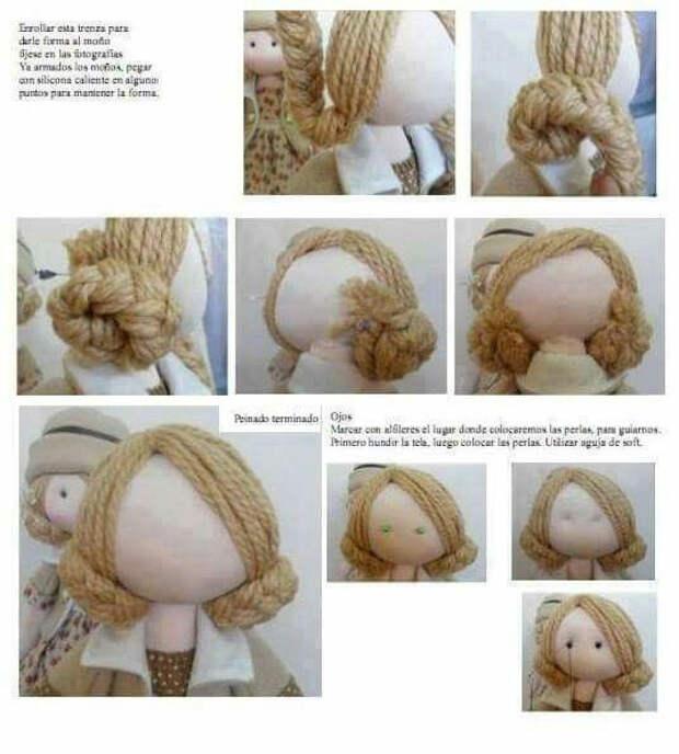 Оформляем текстильным куколкам голову - небольшая подборка фотоМК