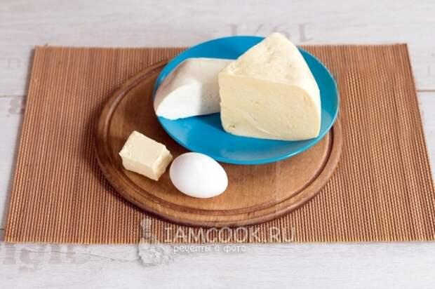 Подготовить сыр, масло и яйцо