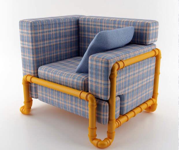 Кресло с необычным каркасом.
