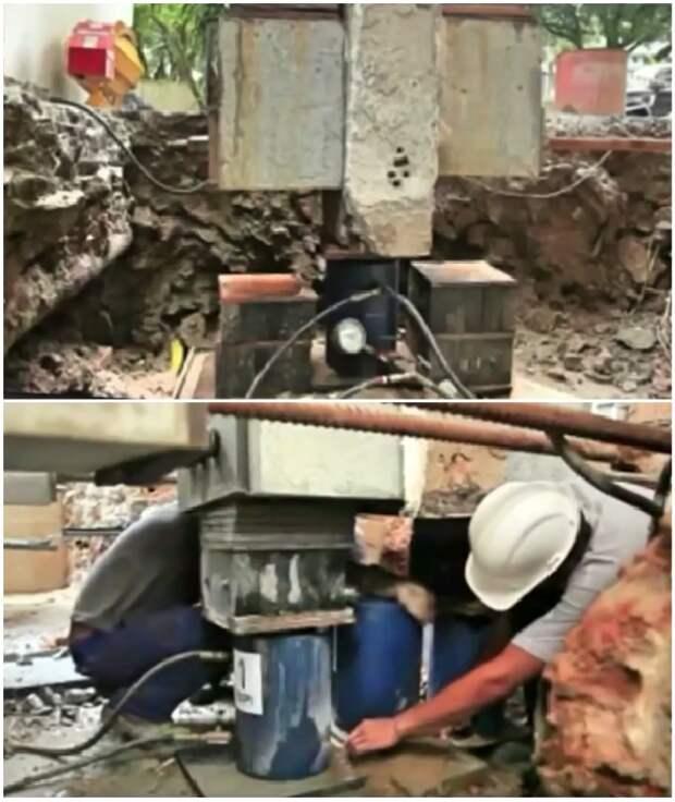 С помощью гидравлических домкратов и заполнения бетонным раствором пустот удалось выровнять лишь одно здание (Сантос, Бразилия). © PANDORA.