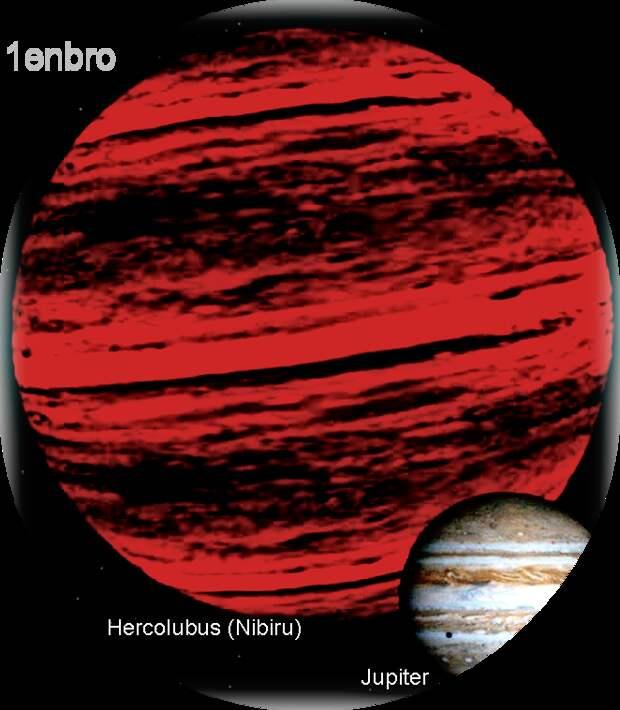 """Сравнительный размер планеты Нибиру с Юпитером (изображение из статьи Википедии """"Планета Нибиру"""", Автор: 1enbro - собственная работа, CC BY-SA 4.0, https://commons.wikimedia.org/w/index.php?curid=56003381)"""