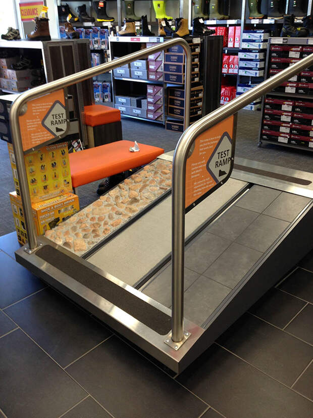 """This Store Has A """"Test Ramp"""" So You Can Try Out Your Safety Boots On Different Surfaces"""
