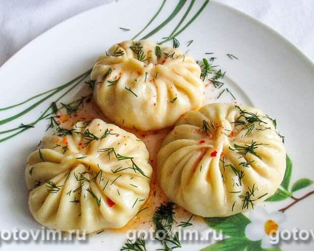 Манты с картошкой и солёным салом. Фотография рецепта