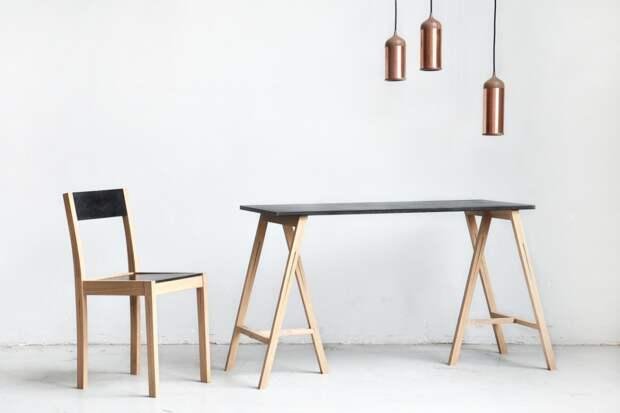 Лаконичный дизайн обеденного стола и стула из дерева