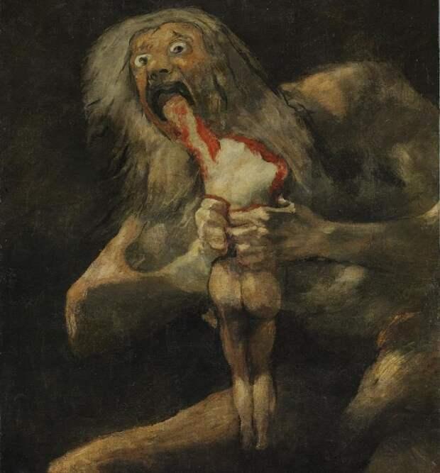 Франсисико Гойя. Сатурн, пожирающий своего сына (фрагмент). 1819-1823 г