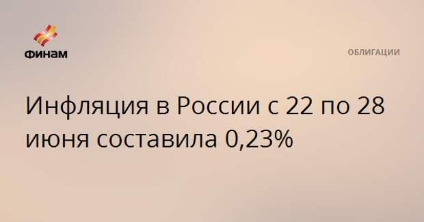 Инфляция в России с 22 по 28 июня составила 0,23%