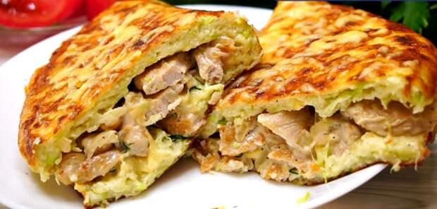 В сезон кабачков готовлю вкуснятину! Лепешка из кабачков с мясом: съедается за секунды
