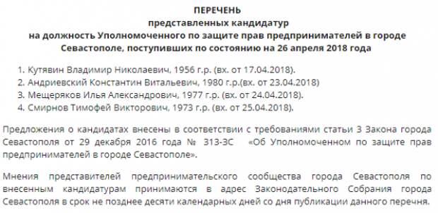 Севастопольские решат судьбу бизнес-омбудсмена