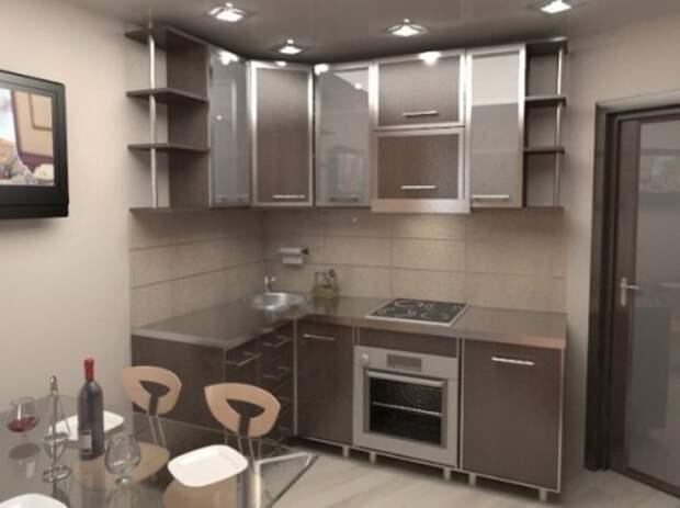 Дизайн кухни 5 кв м с мойкой в углу