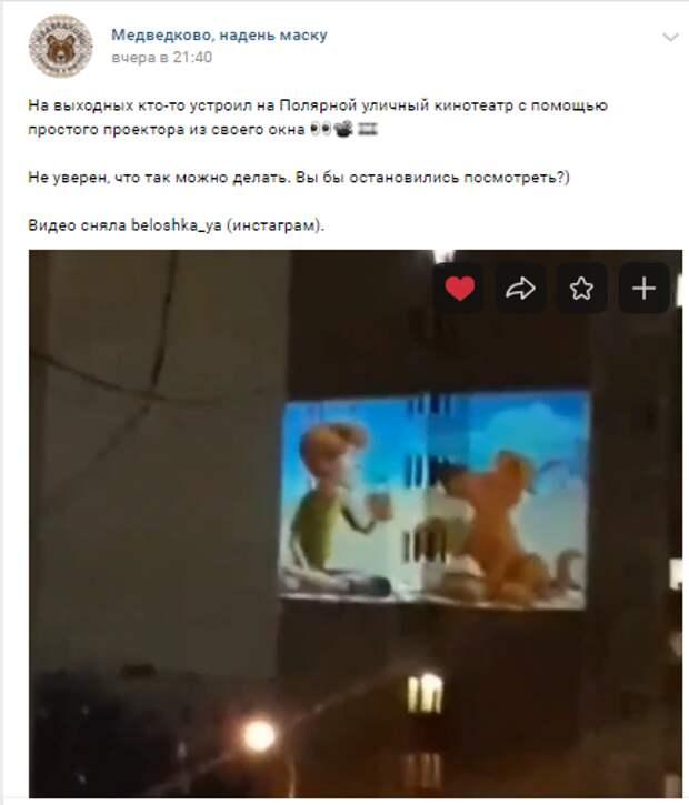 Житель дома на Полярной организовал кинотеатр под открытым небом