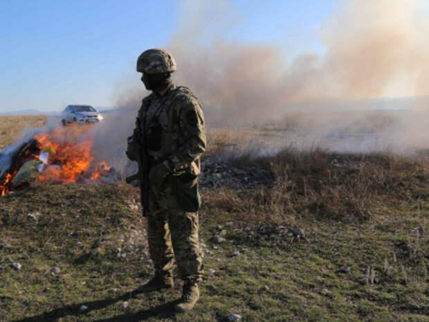 В Крыму сожгли КАМАЗ изъятых наркотиков