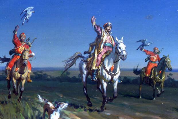 Царь Алексей Михайлович на соколиной охоте