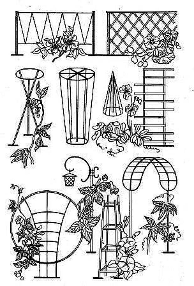 Деревянные опоры для цветов. Как вам идеи?
