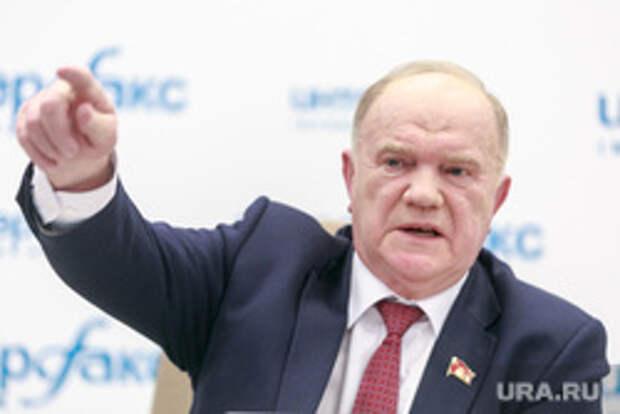 Пресс-конференция с участием Геннадия Зюганова и Павла Грудинина. Москва, указательный палец, жест рукой, зюганов геннадий
