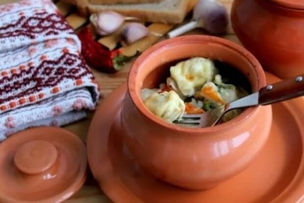 Пельмени в горшочках в духовке еда, кулинария, пельмени, рецепты