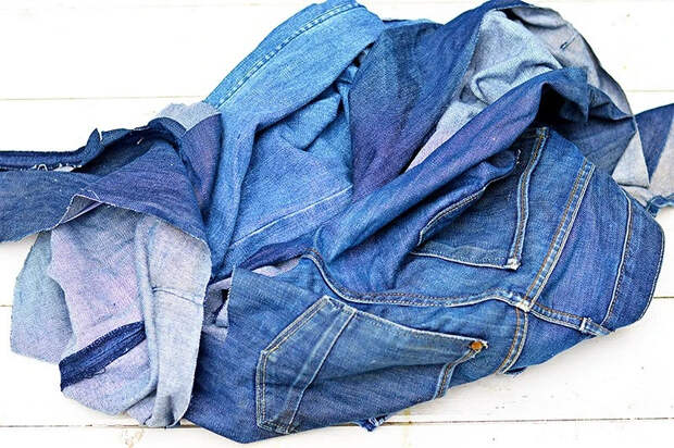 Идея: сиденье длястула изстарых джинсов втехнике пэчворк
