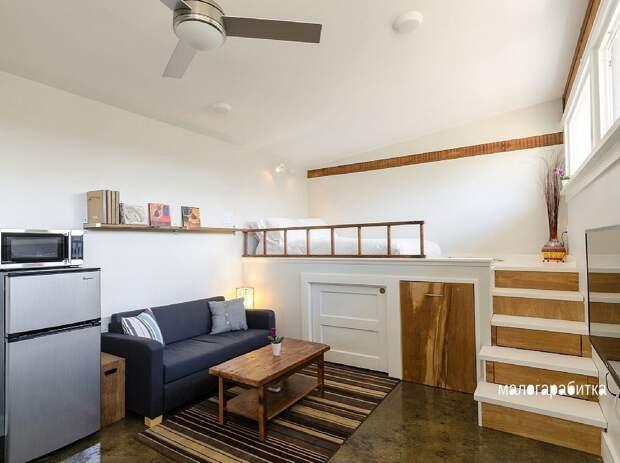 Удивительное преображение гаража в домик на 23,2 м² с очень приятным интерьером и удобным оформлением. Вместили невместимое