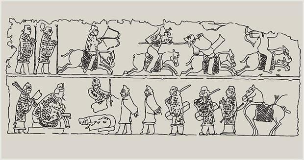 Картины ханьско-варварских войн. Варвары – всегда побеждены. Прорисовка с ханьского барельефа