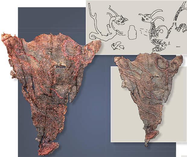 Вверху: прорисовка изображения драконов с картины на шелке из Мавандуя. Картина являлась священным предметом, защищающим жизнь. Драконы, нарисованные на ткани, должны были избавлять от бедствий. Рисунок пером на шелке. Внизу: Фрагмент вышитой шелковой ткани и прорисовка вышивки по шелку. 20-й ноин-улинский курган. Выполнено Е. Шумаковой