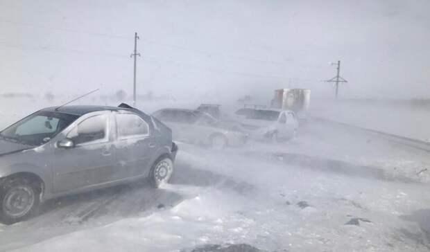 УМВД сообщило подробности массового ДТП натрассе Оренбург-Орск