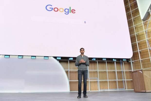Генеральный директор Google Сундар Пичаи выступает во время ежегодной конференции разработчиков Google I/O 2019 в Shoreline Amphitheatre в Маунтин-Вью, Калифорния, 7 мая 2019 года