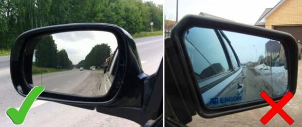 Правильная и неправильная настройка зеркал заднего вида.