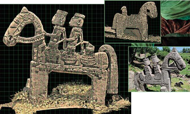 Результаты визуализации каменных всадников и коней памятника Гул с использованием данных сканирования (облака точек) и аэрофотосьемки. Лазерное сканирование выполнено сканером Leica ScanStation P20. Для создания съемочного геодезического планово-высотного обоснования использовался GNSS-приемник Leica GS14, работающий в режиме RTK c передачей поправок по радиоканалу. Аэрофотосъемка проведена с помощью БПЛА DJI Phantom 3