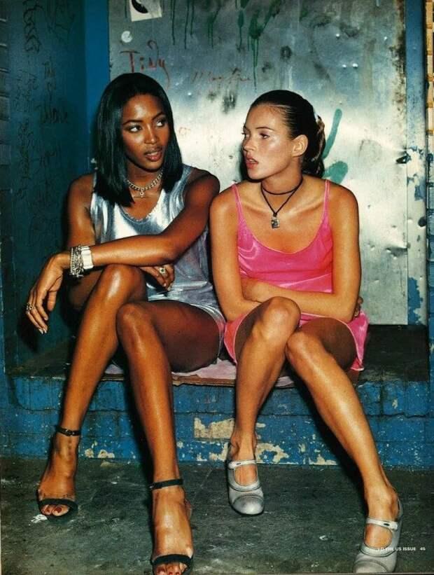 Наоми Кэмпбелл и Кейт Мосс, 1994 год. ретро фото, фотт, это интересно