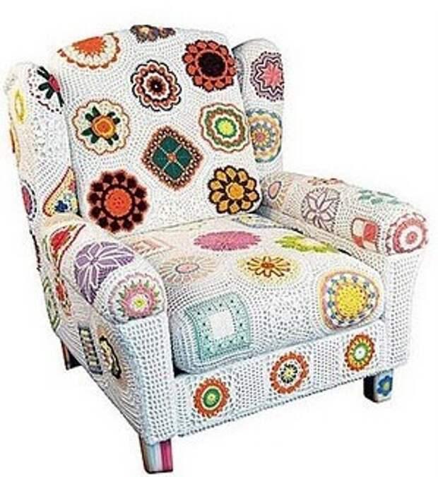 Вязаные мебель часть №1 - кресло
