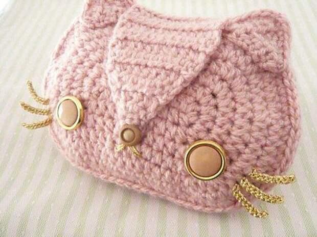 Вязаная сумка котик