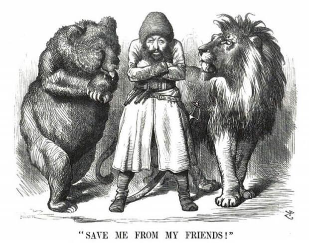 Карикатура: между «Россией и Англией»