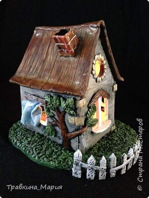Мастер-класс Поделка изделие Лепка Свечной дом Глина фото 1