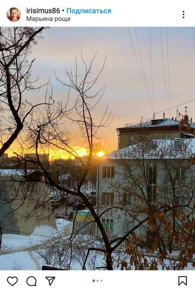 Фото дня: в небе над Марьиной рощей разлился закат-желток