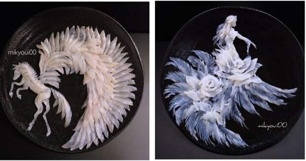 Кулинарная живопись натарелках: японский шеф-повар превращает рыбную нарезку внастоящие шедевры