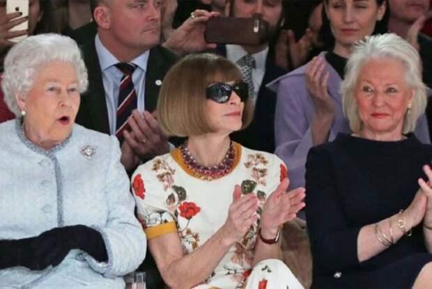 Елизавета II, Анна Винтур и Анджела Келли на Неделе высокой моды в Лондоне. / Фото: www.bbci.co.uk
