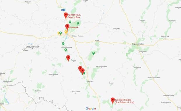 Вот она, наша малая часть, отмечена красными маркерами на карте