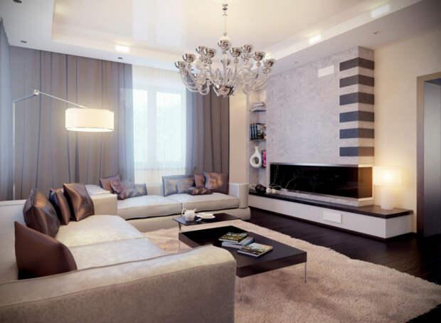 Гостиная комната с двумя мягкими диванчиками, оригинальными серыми шторами, хромированной люстрой и чёрным матовым журнальным столиком.