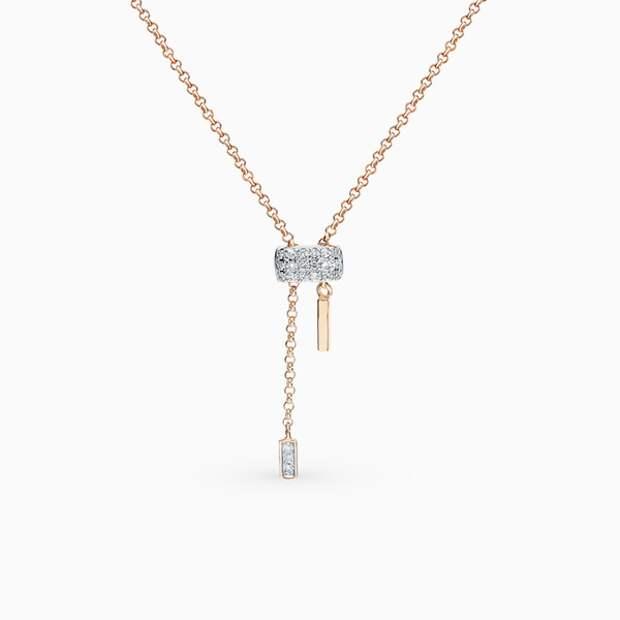 Подвеска SL, розовое золото, бриллианты