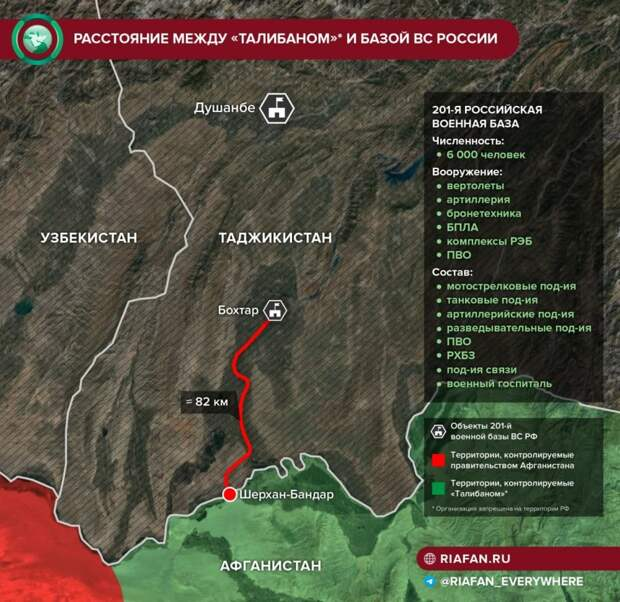 Между Талибаном и 201-й базой ВС РФ 82 км