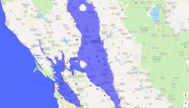 Вот какие города будут затоплены в Калифорнии, даже без поднятия уровня Мирового океана на 20 метров - достаточно того, что низменность опустится на 20 метров через 40-50 лет! (Картинка увеличивается кликом). Это Сан-Франциско, Сакраменто, Сан-Хосе и т.п.