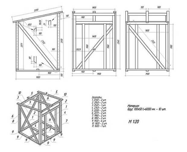Чертеж будки для инструментария